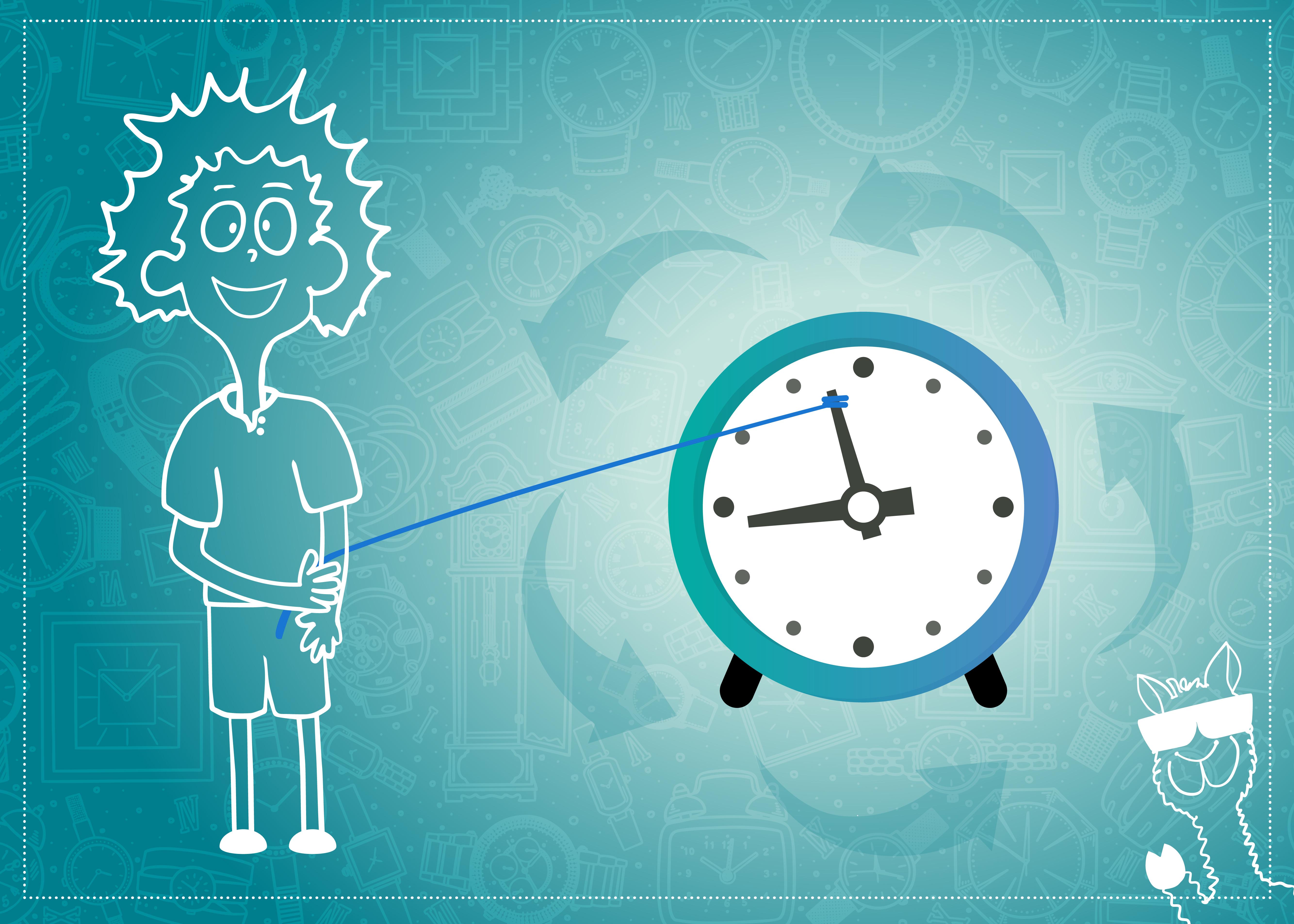 Azubi Mann dreht an der Uhr, damit die Ausbildungszeit verkürzt wird