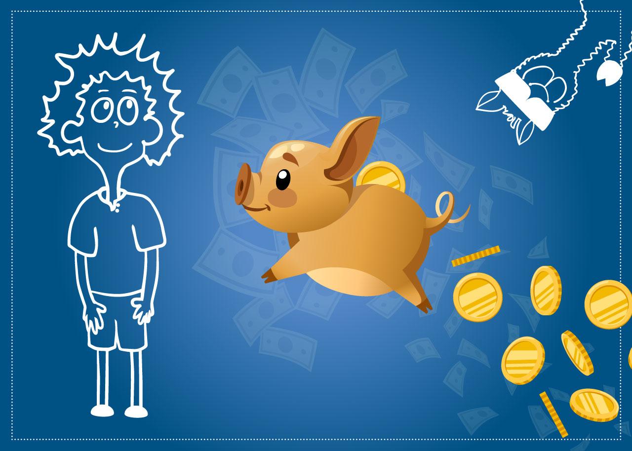Mannis Sparschwein freut sich über die Tipps für Azubis
